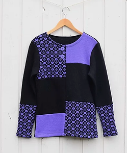 Sweater patched with single and patterned material (model 359-2)