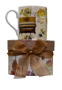 Musical Motif Coffee Cup in Matching Gift Box
