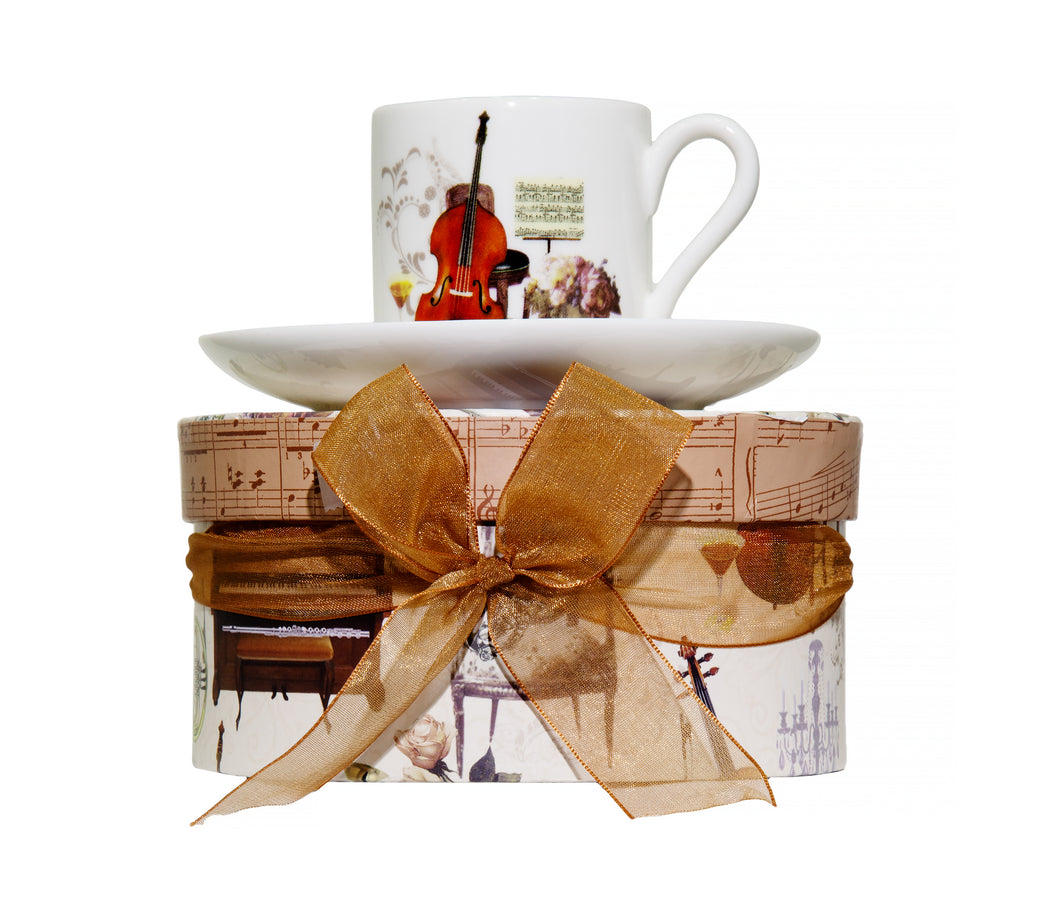 Musical Motif Espresso Cup and Saucer in Matching Gift Box