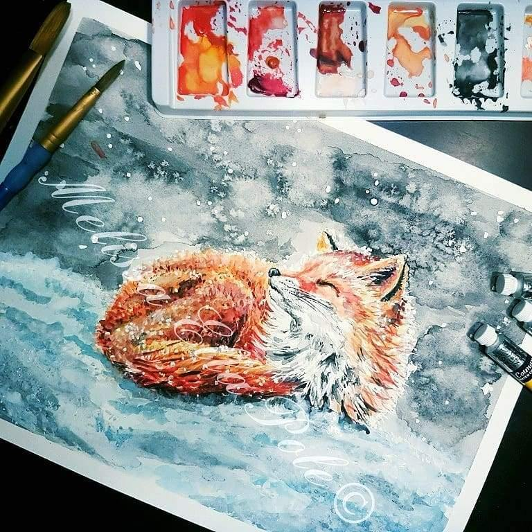 red fox in snow, winter fox painting