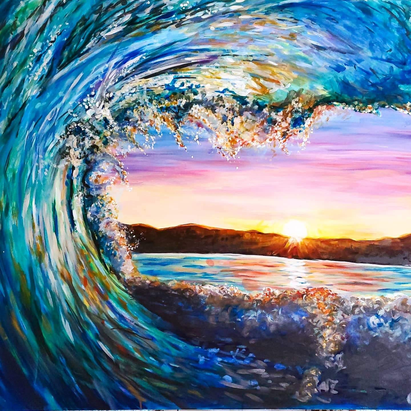ocean wave, blue wave. acrylic painting