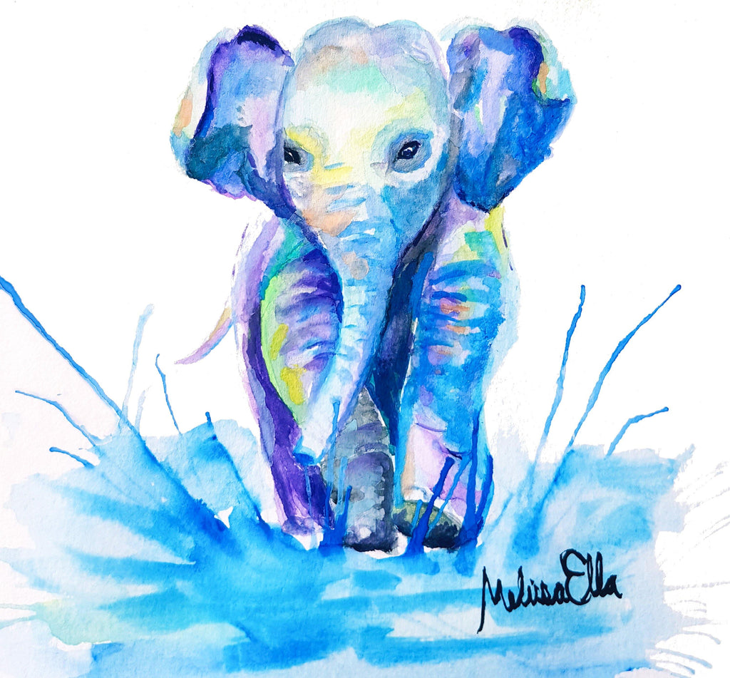 baby elephant print. nursery art. watercolor art
