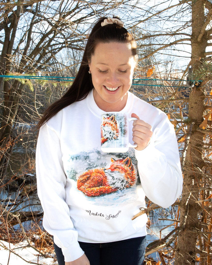 crew neck, Muskoka, Muskoka sweater, crew neck sweater, fox sweater, watercolor sweater, artwork