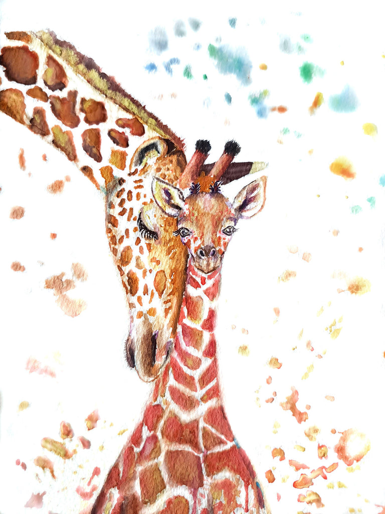 giraffe painting, nursery art, baby and mother giraffe