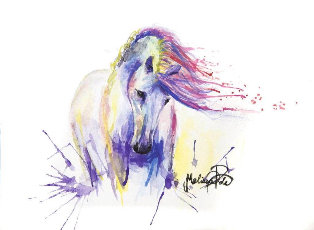 horse painting, watercolor artwork, colourful horse, rainbow horse, horse art print