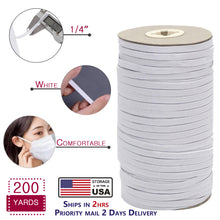 Load image into Gallery viewer, 1/4' Elastic for Masks, 200 Yards Heavy Duty Elastic String Cord