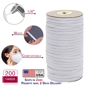 1/4' Elastic for Masks, 200 Yards Heavy Duty Elastic String Cord