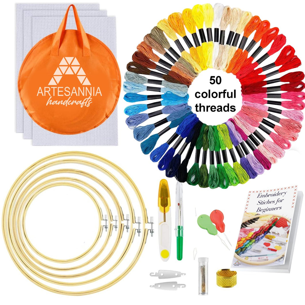Artesannia Embroidery Beginners Kit with 50 Skeins Threads and a Circular Packing Bag