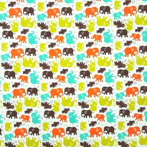 Fabric - Kids Prints Elephants White