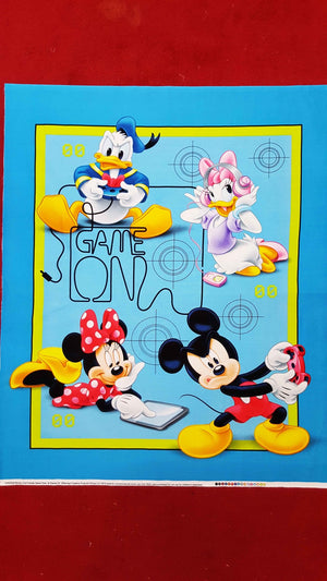 Fabric - Panels Mickey and Friends Game Over Panel Blue
