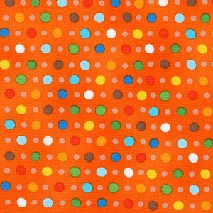 Fabric - Patchwork Jump Into Fun Spots Orange Orange
