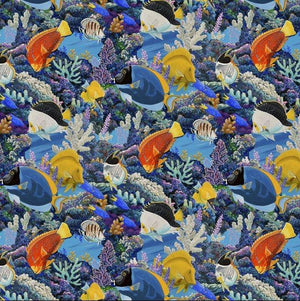 Fabric - Patchwork Animal Charm Fish Blue