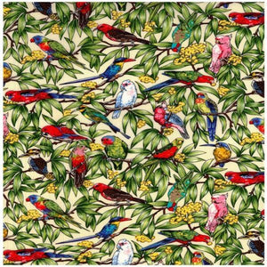 Fabric - Patchwork Birds In Paradise Ivory