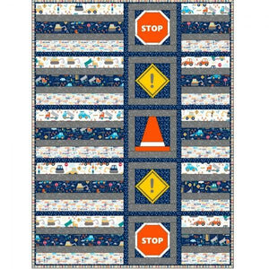 "Patchwork Kits Under Construction ""That Roadwork Quilt"" Kit Multi"
