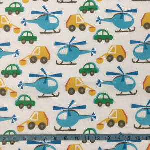 Fabric - Kids Prints Boys Toys Cream