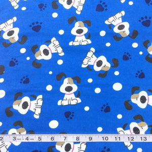Fabric - Kids Prints Flannelette Spot Dogs Blue
