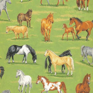 Fabric - Patchwork In The Country Horses Grassland Multi