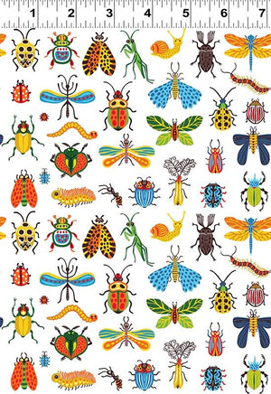 Fabric - Patchwork Beetlemania Bugs White White