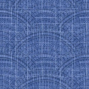 Fabric - Patchwork Moody Blues Scallops Dark Blue Blue