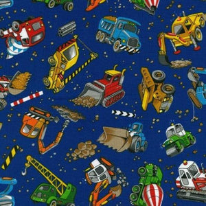 Fabric - Patchwork Construction Trucks Royal Blue