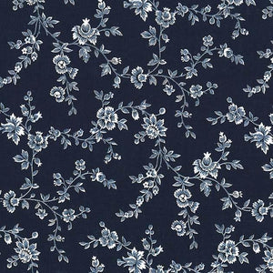 Fabric - Patchwork Beginnings Flower Vine Navy Navy