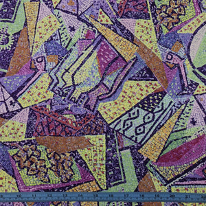 Fabric - Rayon/Viscose Mosaic Purple Multi