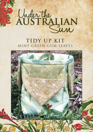 Patchwork Kits Tidy Up Kit Under the Australian Sun Mint Green Gum Leaves Multi