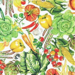 Fabric - Patchwork Down On The Farm Veggie White