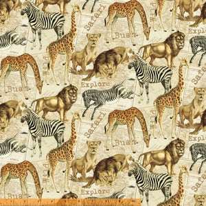 Fabric - Patchwork Expedition Serengeti Natural