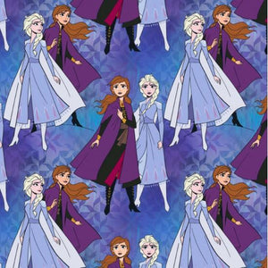 Fabric - Patchwork Disney Frozen II Elsa and Anna Together Purple