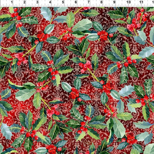 Fabric - Patchwork Winter Around The World Holly Red