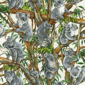 Fabric - Patchwork Koalas Cream