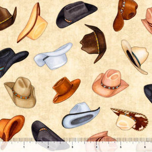 Fabric - Patchwork Lil Bit Country Cowboy Hats Natural