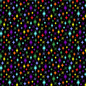 Fabric - Patchwork Stars Black Multi Black