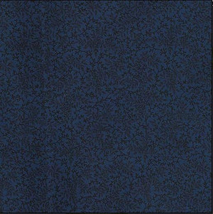 Fabric - Quilt Backing Delicate Vines Dark Blue Blue