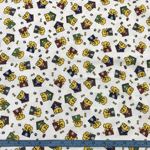 Fabric - Flannelette Flannelette Dogs and Kennels White