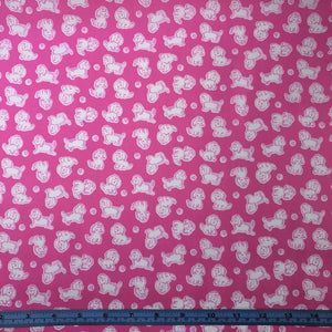 Fabric - Cotton Strawberry Biscuits Poodle Hotpink Pink