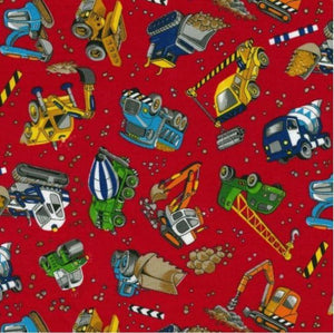 Fabric - Patchwork Construction Trucks Red Red