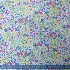 Fabric - Patchwork Liberty Fabrics Flower Show Summer Wisley Flowers Blue