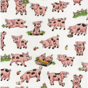 Fabric - Patchwork Farm Fun Pigs Cream