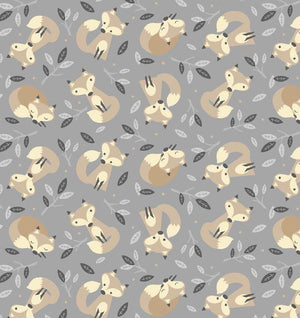 Fabric - Patchwork Little Critters Foxes On Grey