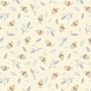 Fabric - Patchwork Little Critters Acorns On Cream