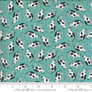 Fabric - Patchwork Animal Crackers Splash Cows Teal