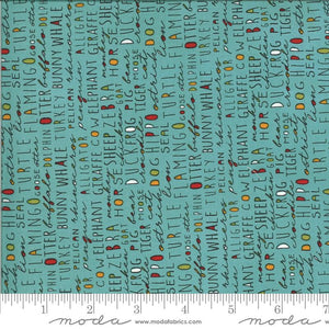Fabric - Patchwork Animal Crackers Splash Words Teal