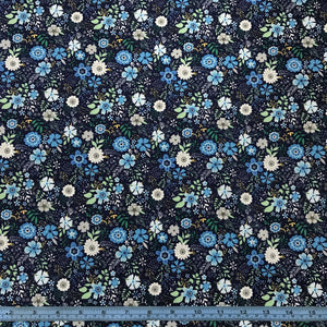 Fabric - Cotton Blue Flowers on Navy