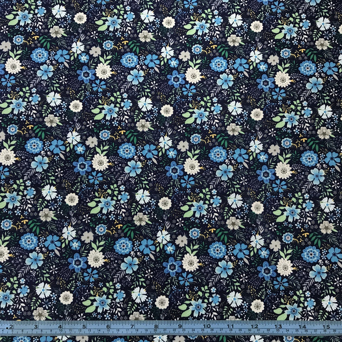 Blue Flowers on Navy