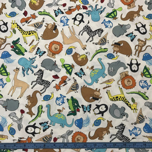 Fabric - Patchwork A to Zoo Animals White
