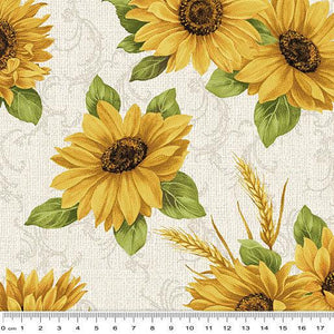 Fabric - Patchwork Accent on Sunflowers Sunflower Meadow Natural