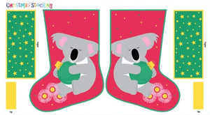 Fabric - Panels Festive Friends Stocking Koala White
