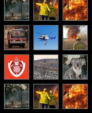 Fabric - Panels Wildfire Heroes Firefighter 6 Inch Blocks Panel Multi